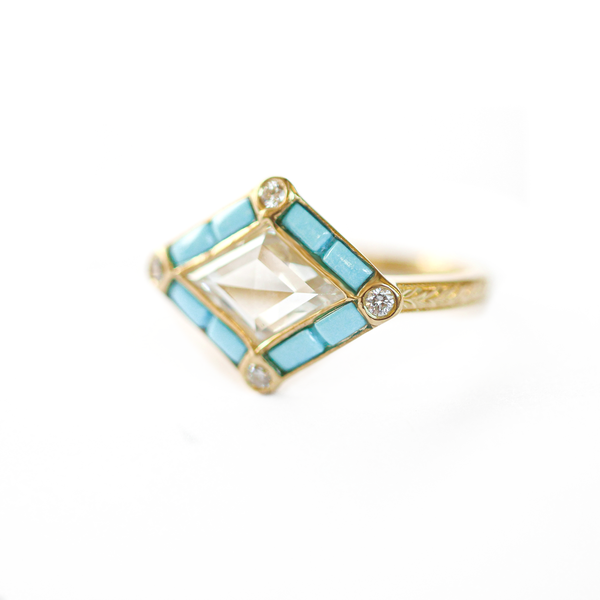 Rose Cut Kite Shaped Diamond Ring with Turquoise Halo