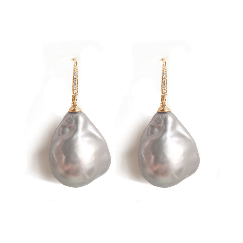 Large Grey Baroque Pearl & Diamond Earrings