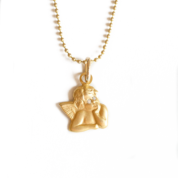 Cherub with Diamond Eyes Pendant