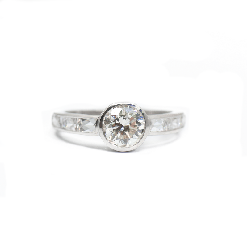 Bezel Set Diamond Ring with French Cut Diamond Accents