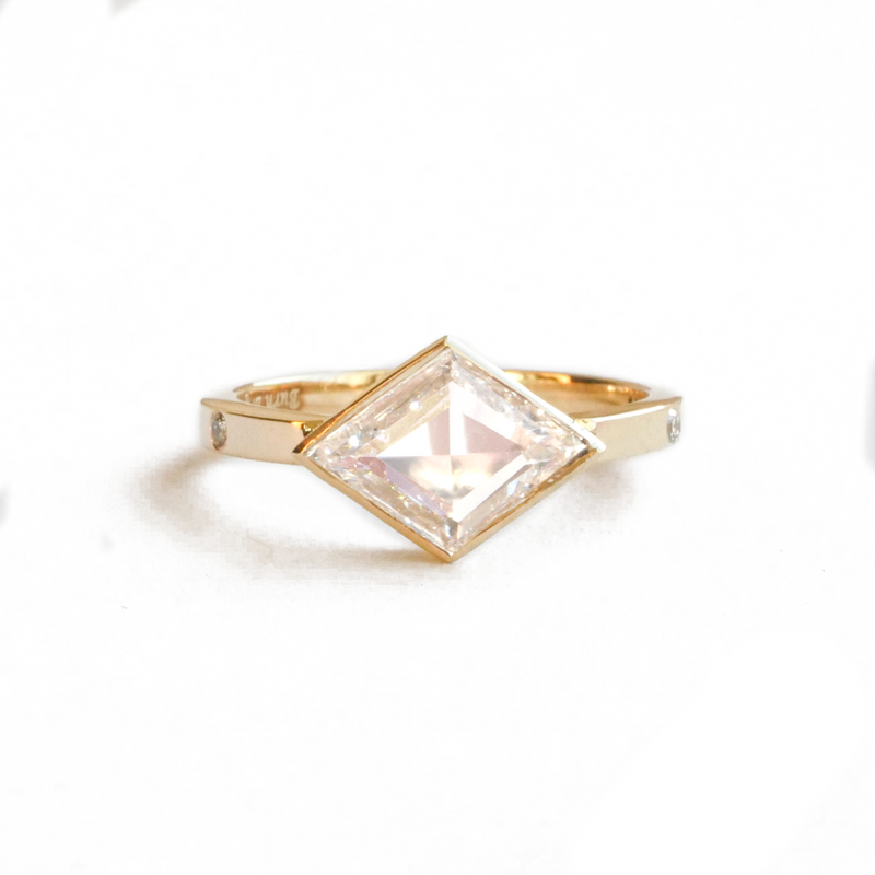 Rose Cut Kite Shape Diamond Ring