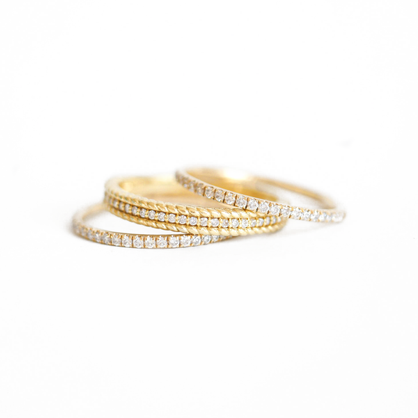 Pavé Eternity Diamond & Rope Diamond Stacking Ring Set