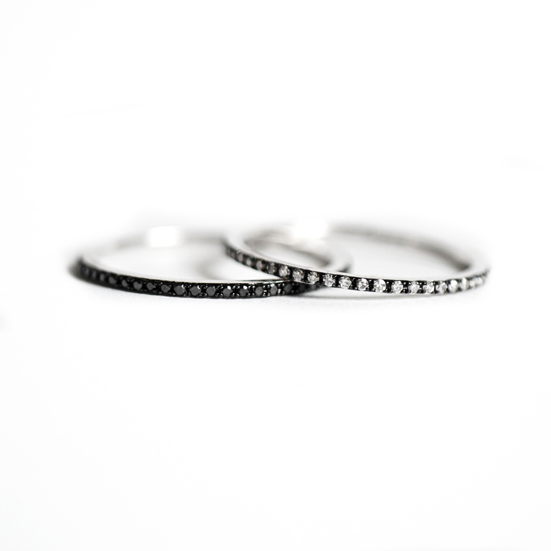 Thin White Diamond Eternity Black Rhodium Stacking Ring