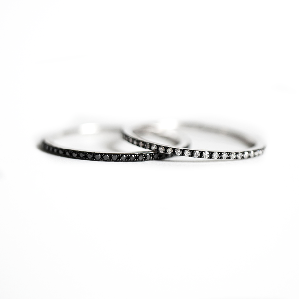 Thin White & Black Diamond Eternity Black Rhodium Stacking Ring Set