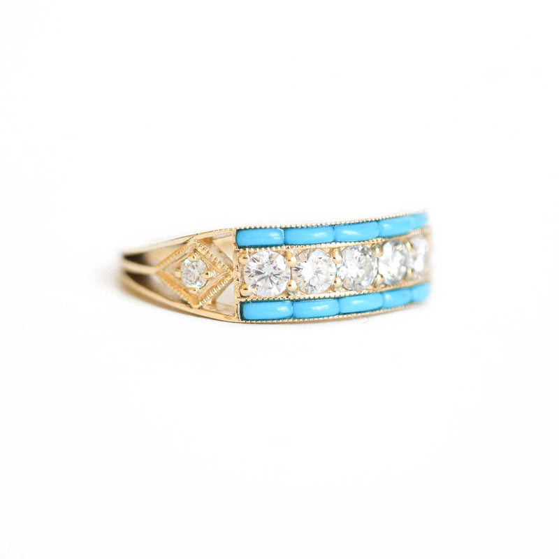 Art Deco Five Diamond Ring with Turquoise