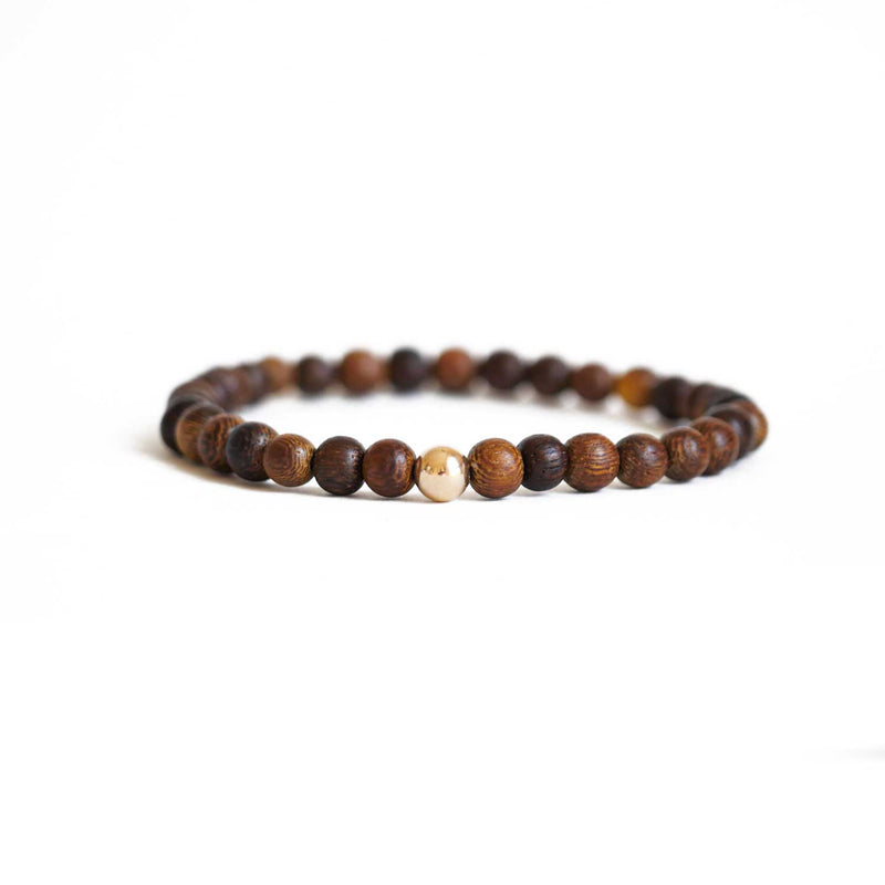 Wood & Gold Ball Stretch Bracelet