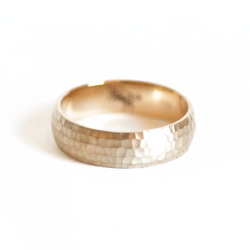 Family Seal Satin Hammered Mens Wedding Ring