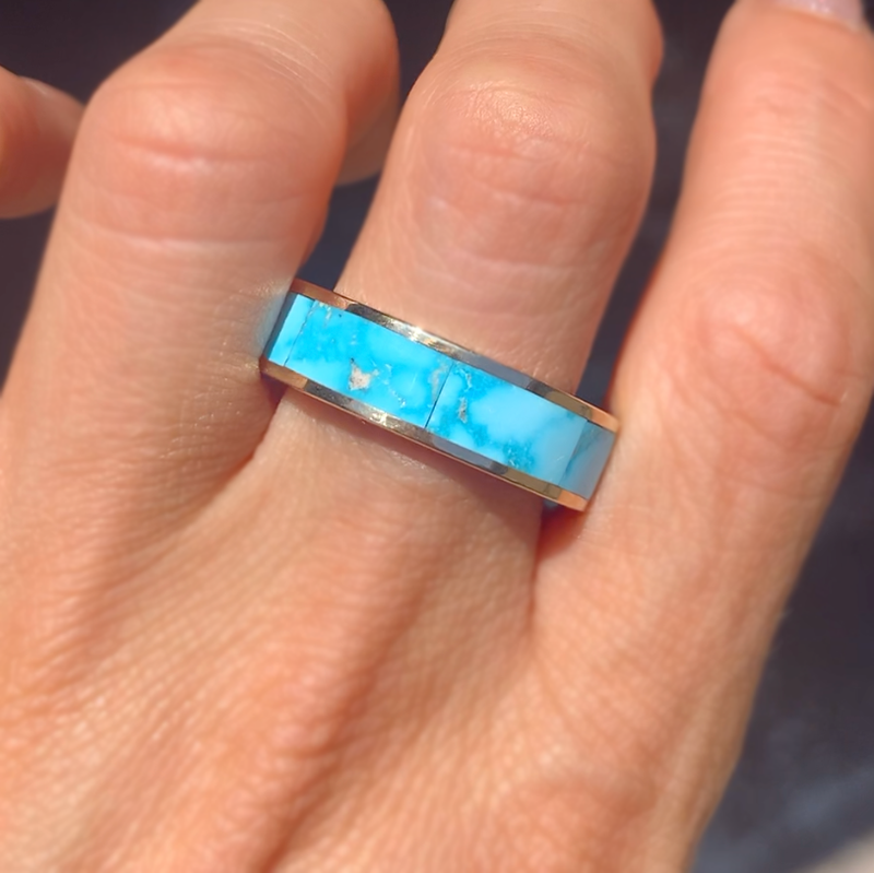 Kingman Turquoise Inlay Wedding Ring
