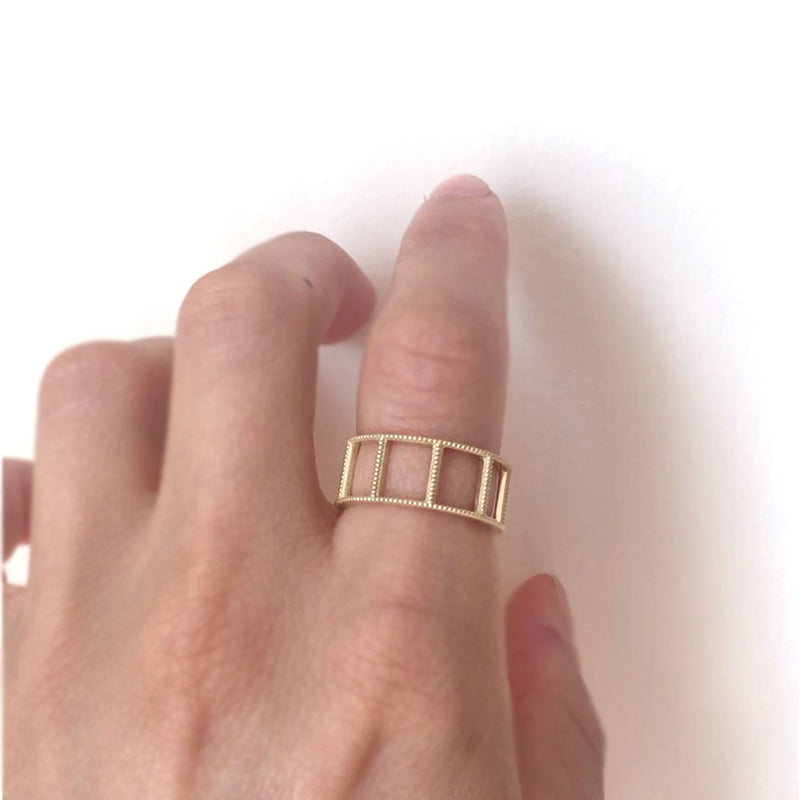 Open Beaded Gold Ring