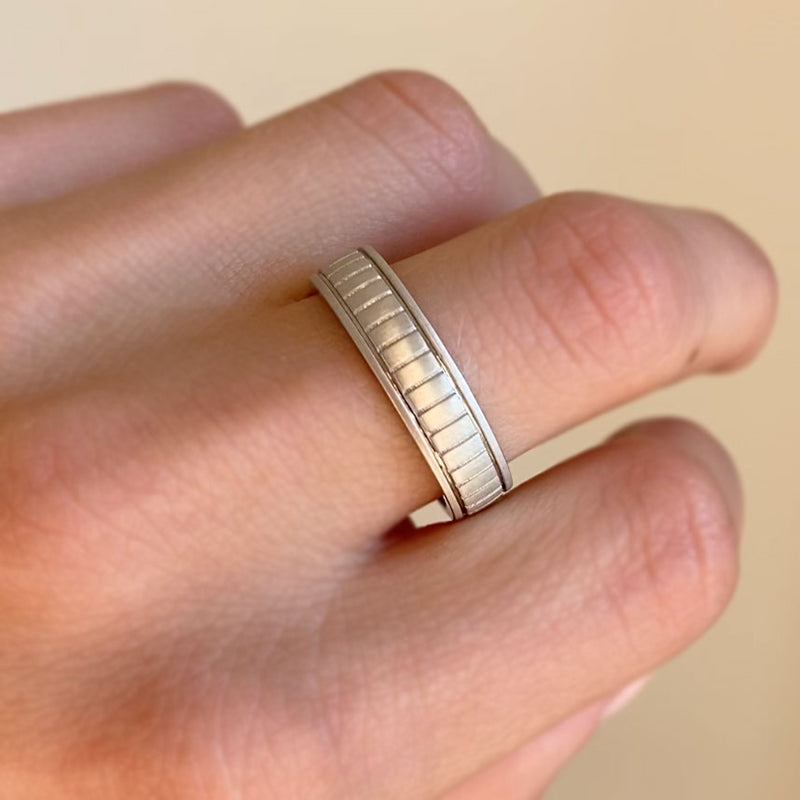 Mens Gold Stripe Wedding Band