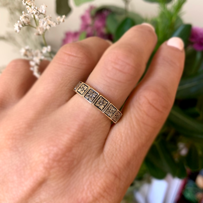 5mm Art Deco Engraved Notched Band Ring