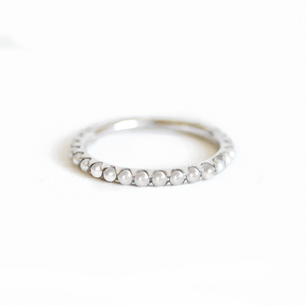 Gold Pearl Eternity Band Ring