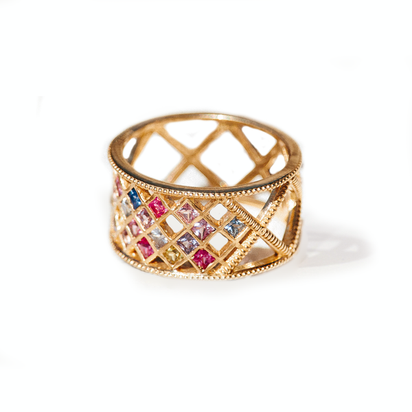 Rainbow Sapphire Gold Beaded Criss Cross Ring