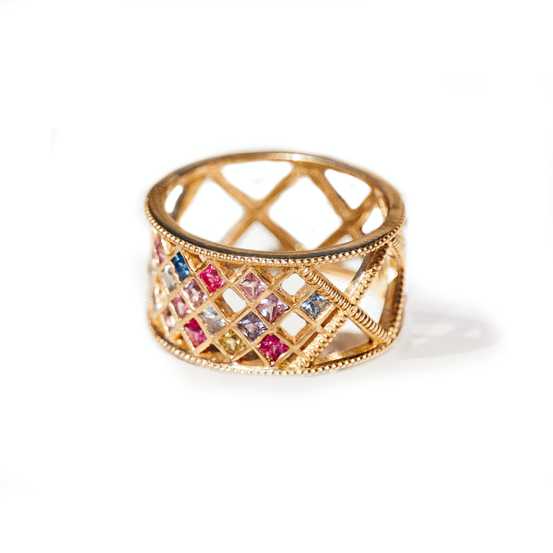 Multi Color Sapphire Criss Cross Ring