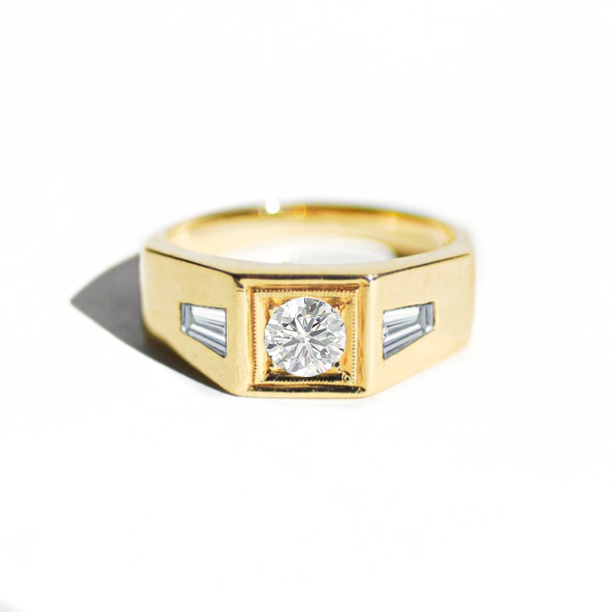 Deco Diamond Men's Engagement Ring