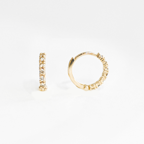 Classic Gold Diamond Huggie Earrings