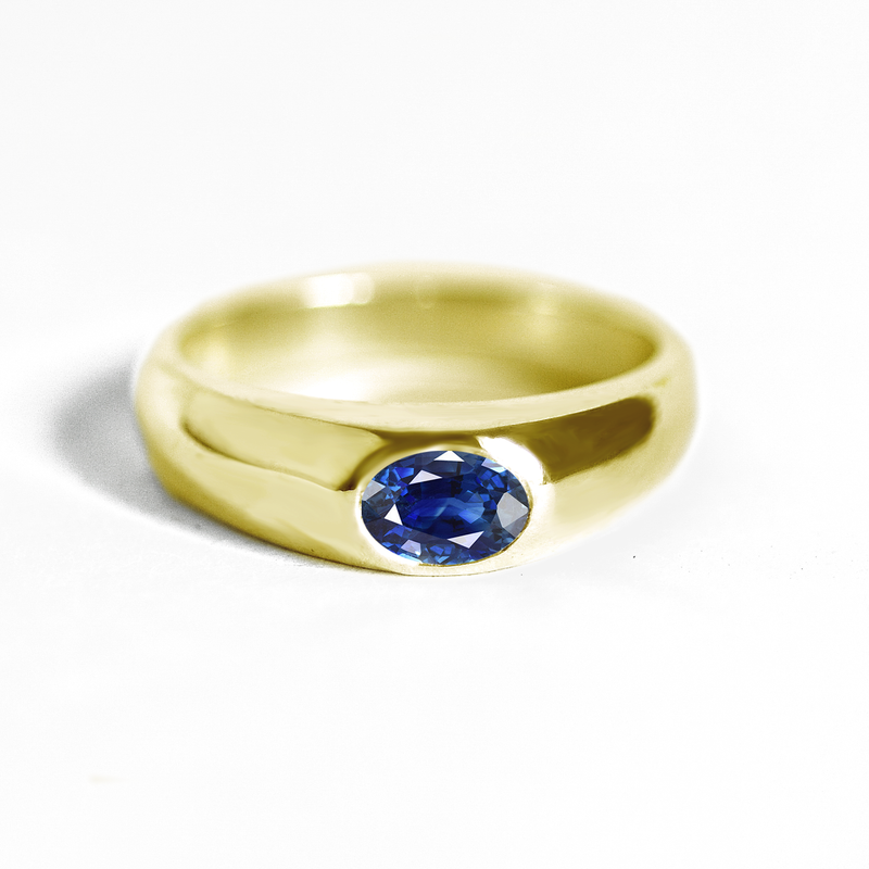 Oval Sapphire Signet Ring