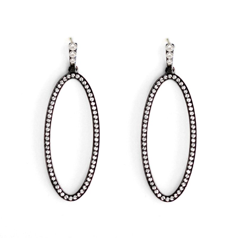 Black Rhodium Diamond Oval Drop Earrings