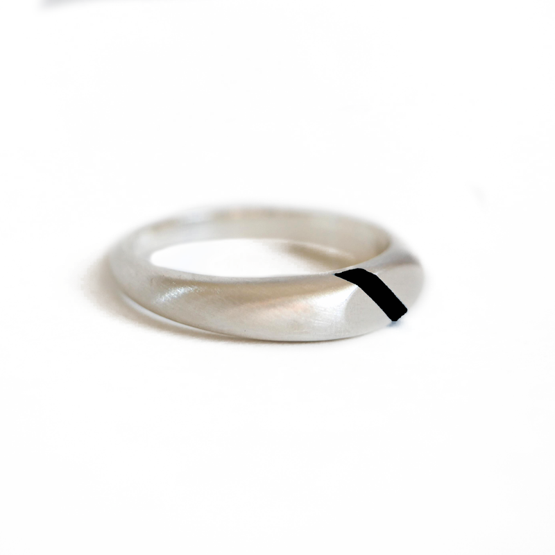 Black Enamel Stripe Signet Ring