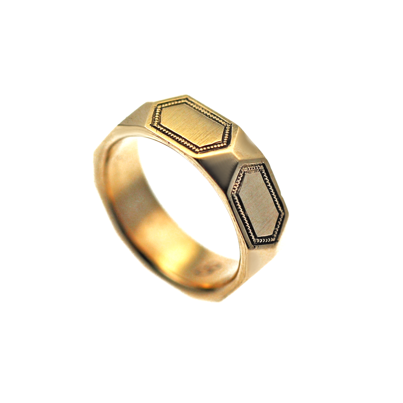 Engraved Hexagon Gold Men's Wedding Ring