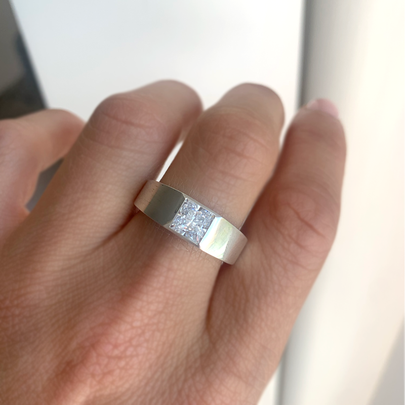 Princess Cut Moissanite Signet Ring