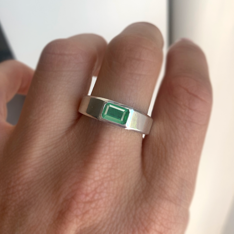 Emerald-Cut Emerald Signet Ring