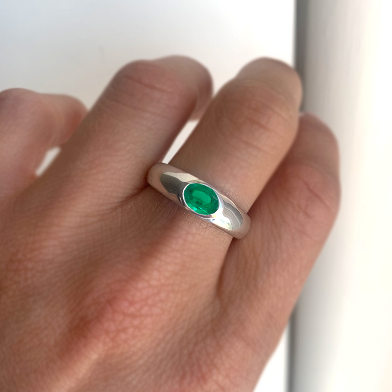Oval Emerald Signet Ring