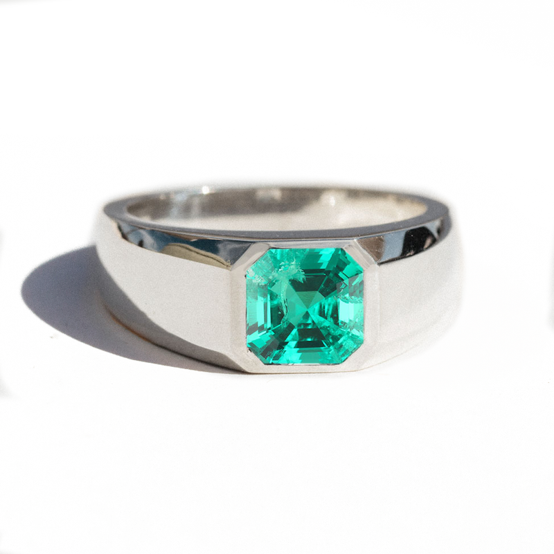 Asscher Cut Emerald Signet Ring