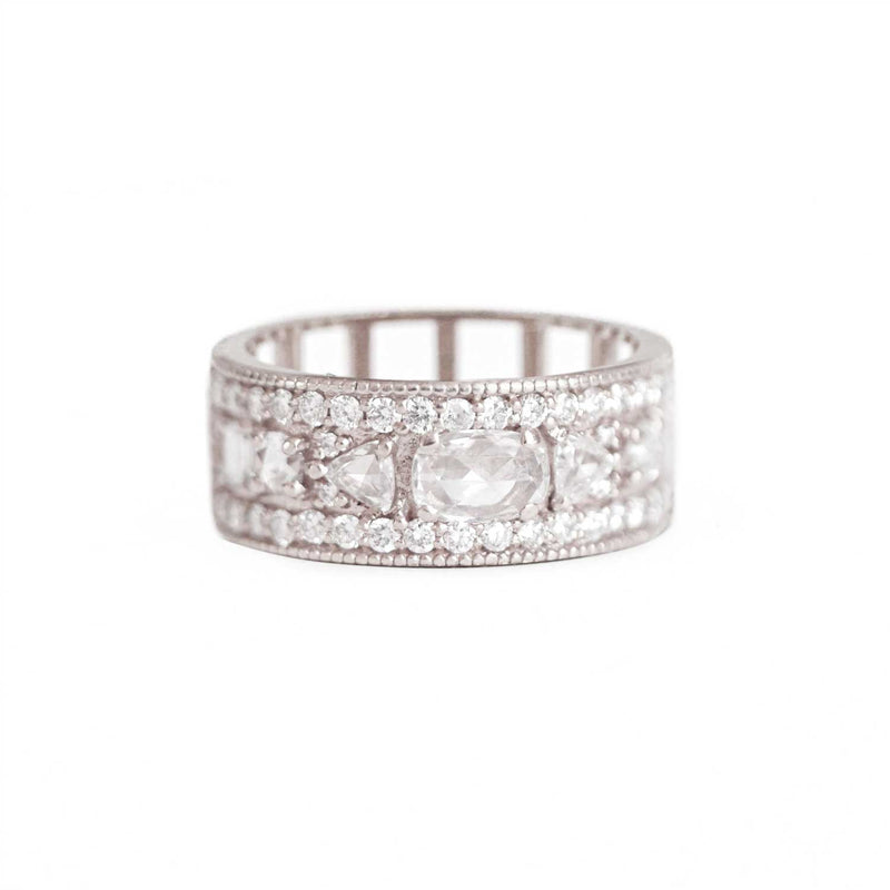 Rose Cut East West Oval Diamond Ring