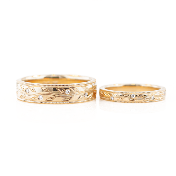 Diamond Olive Branch Couples Wedding Ring Set