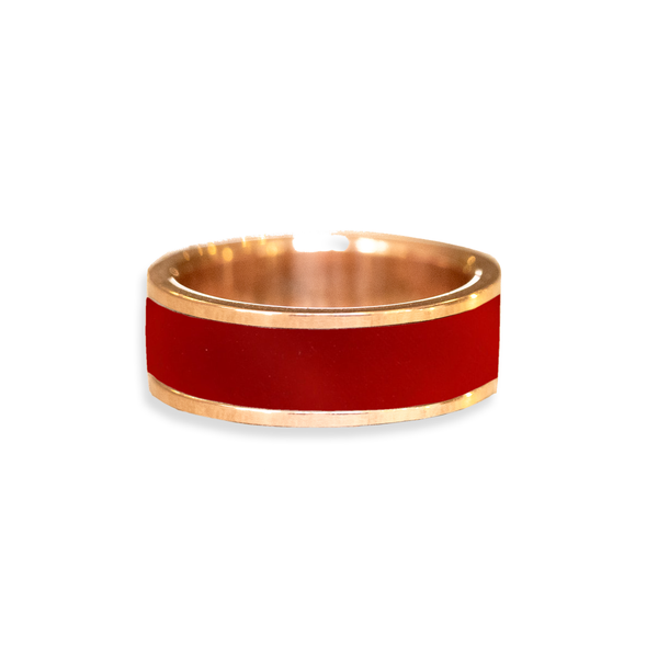 Carnelian Inlay Wedding Ring
