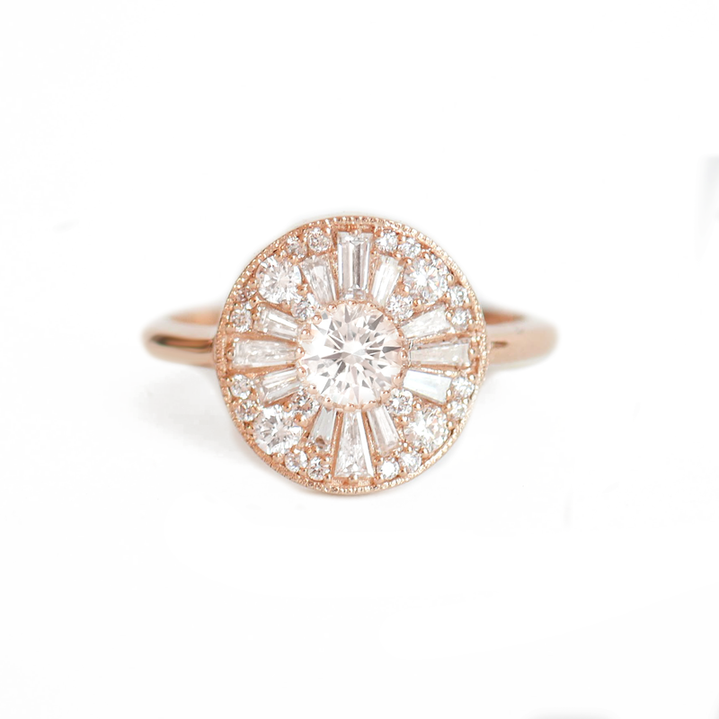Round Shape Brilliant Cut Diamond Mosaic Ring
