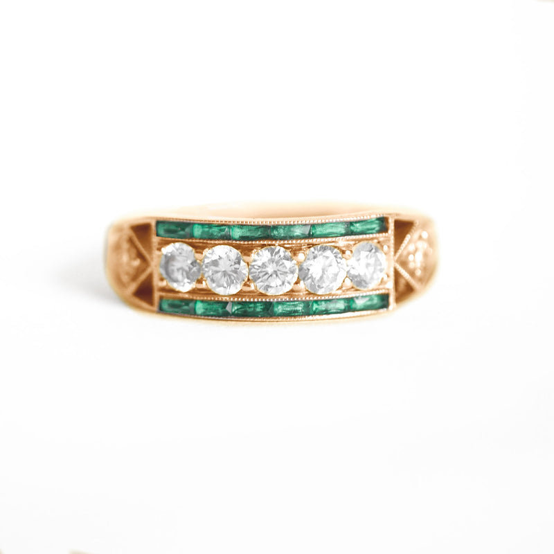 Art Deco Five Diamond Ring with French Cut Emeralds