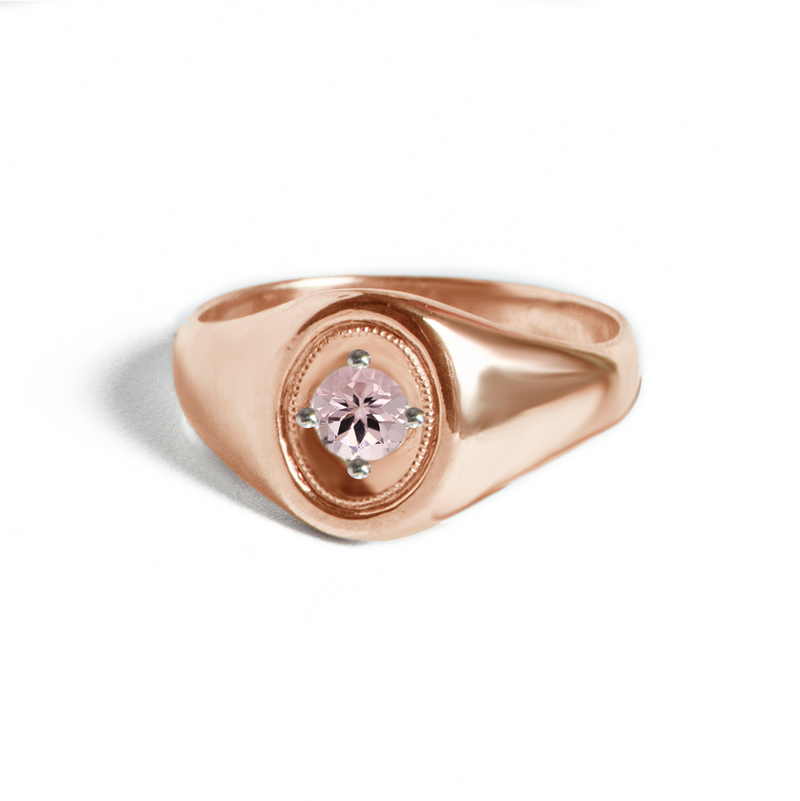 Oval Deco Pink Morganite Ring
