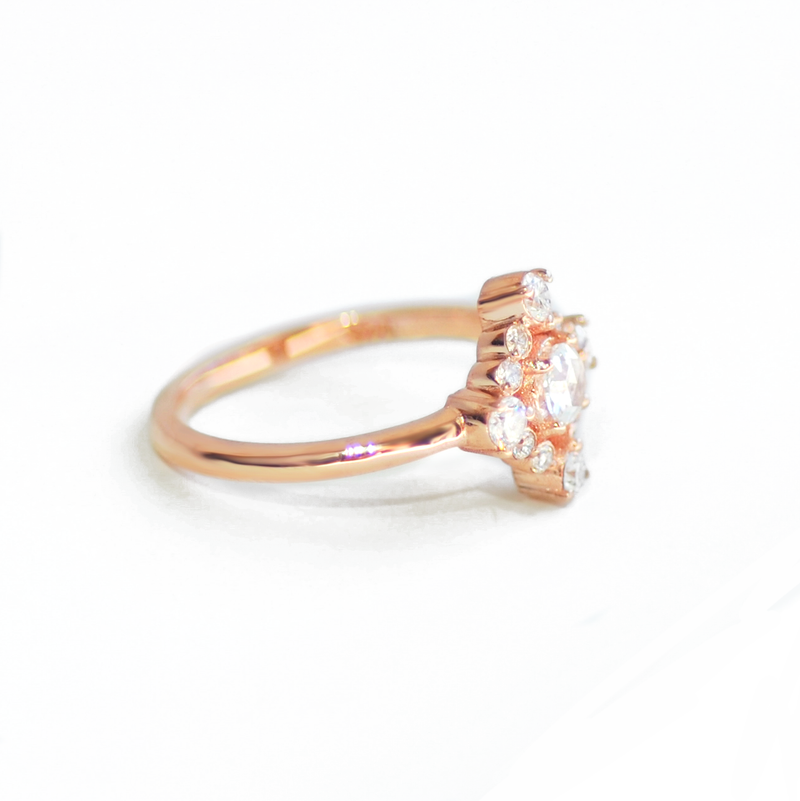 Rose Cut Halo Diamond Ring
