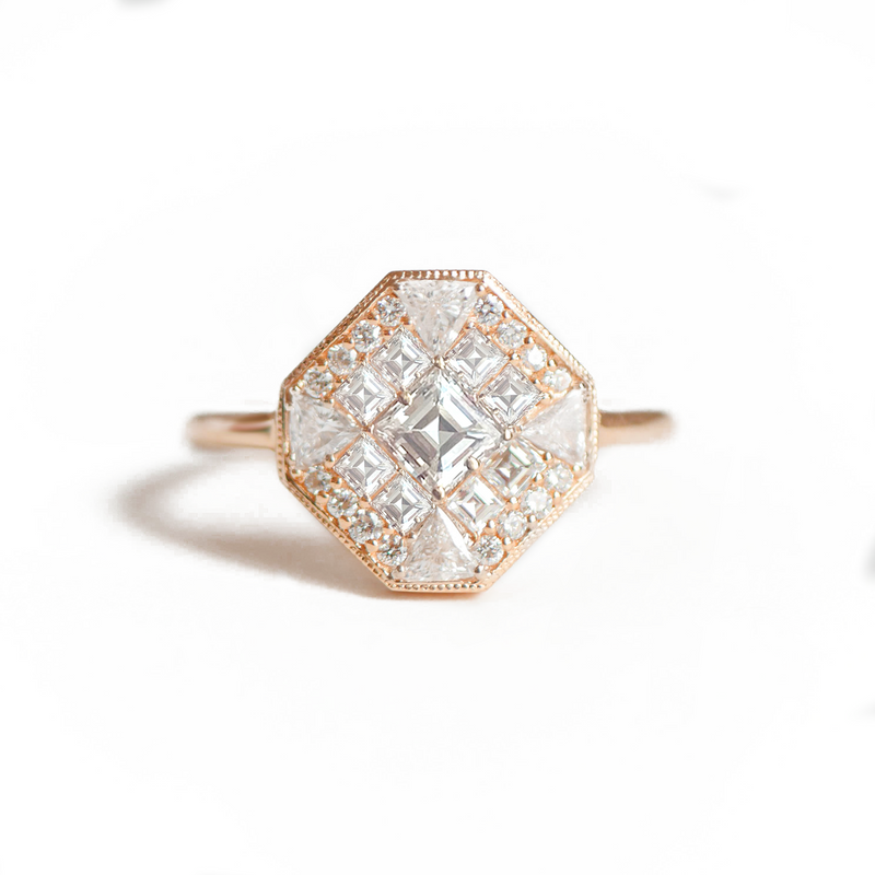 Octagon Shape Carré Cut Diamond Mosaic Ring