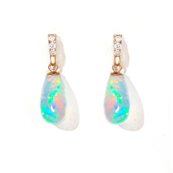 Ethiopian Opal Diamond Drop Earrings