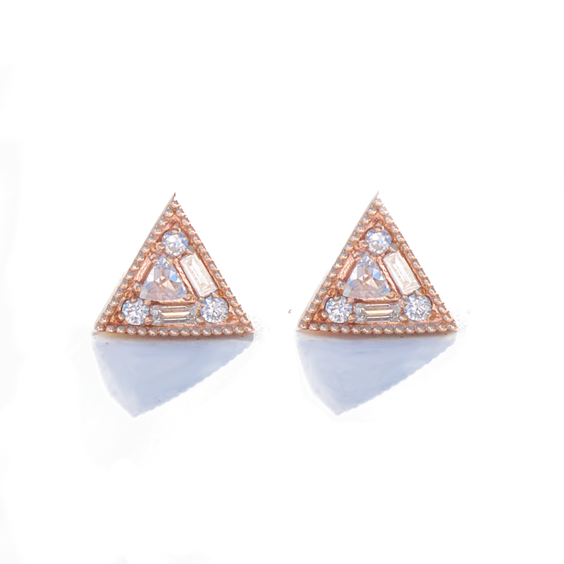 Triangle Rose Cut Diamond Mosaic Stud Earrings