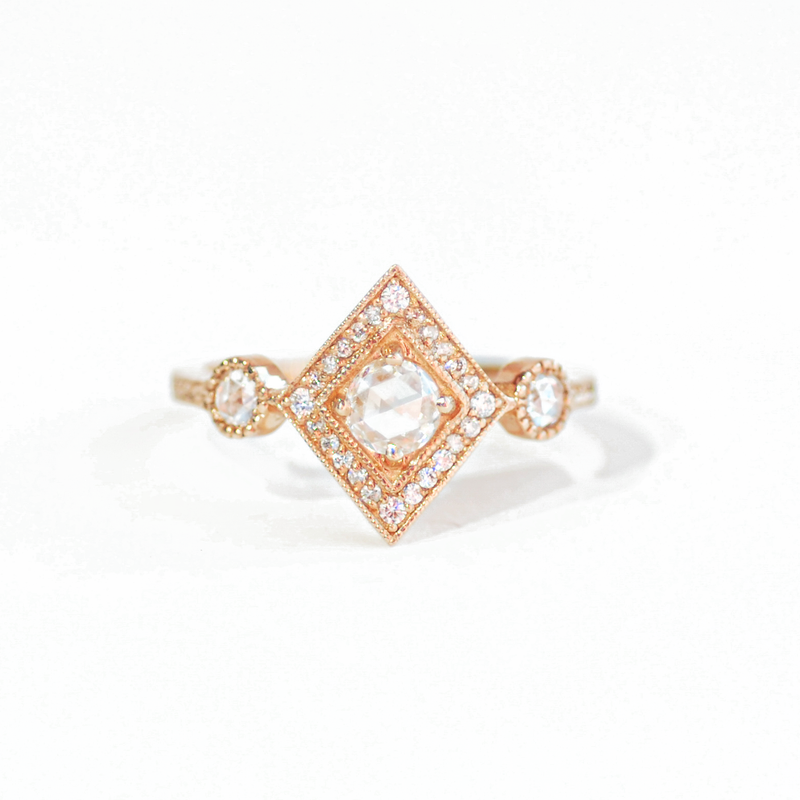 Round Rose Cut Diamond Shape Mosaic Ring