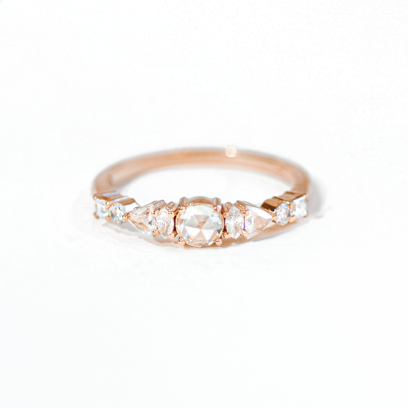 Rose Cut Diamond Line Ring