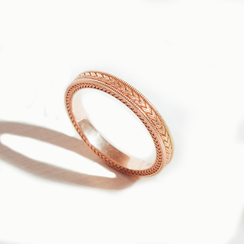 3mm Wheat Engraved Ring