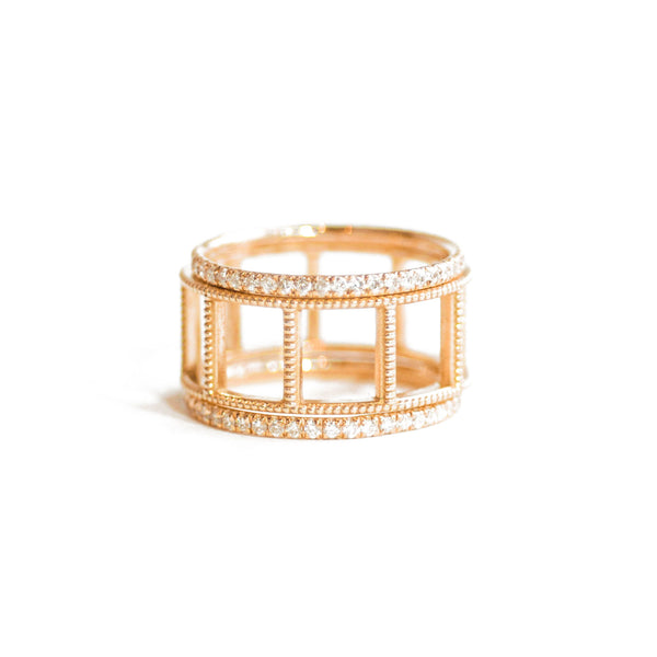 Pavé Eternity Diamond & Open Beaded Gold Stacking Ring Set