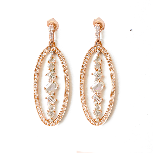 Dripping Diamond Oval Drop Earrings