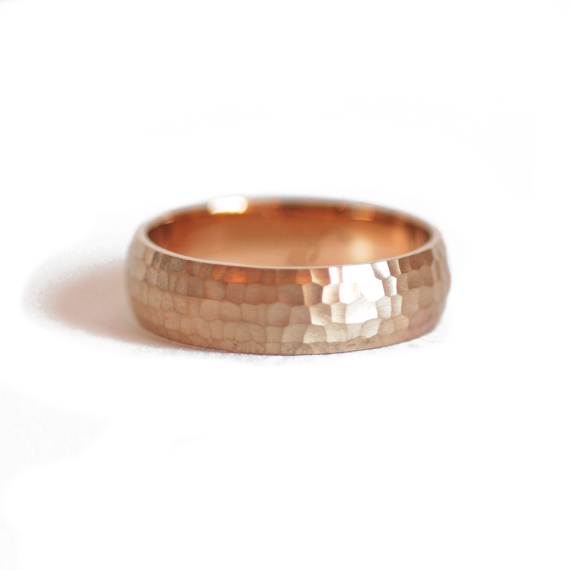 7mm Hammered Satin Band Ring