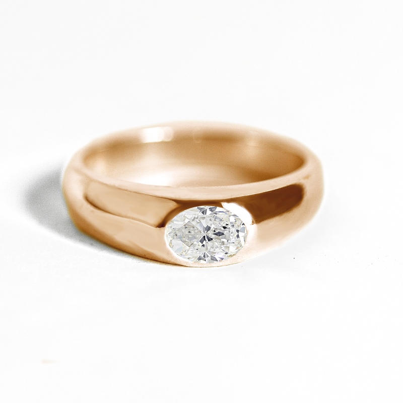 Oval Moissanite Signet Ring