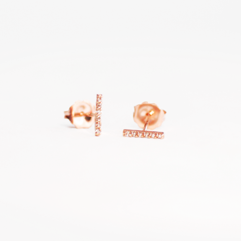 Gold Delicate Diamond Bar Stud Earrings