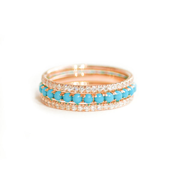 Pavé Eternity Diamond & Turquoise Stacking Ring Set