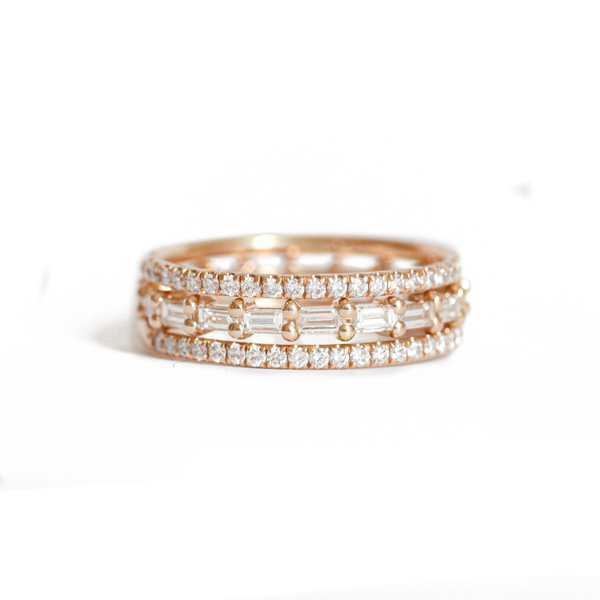 Pavé Eternity Diamond & Baguette Diamond Stacking Ring Set