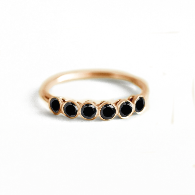 Black Diamond Line Ring