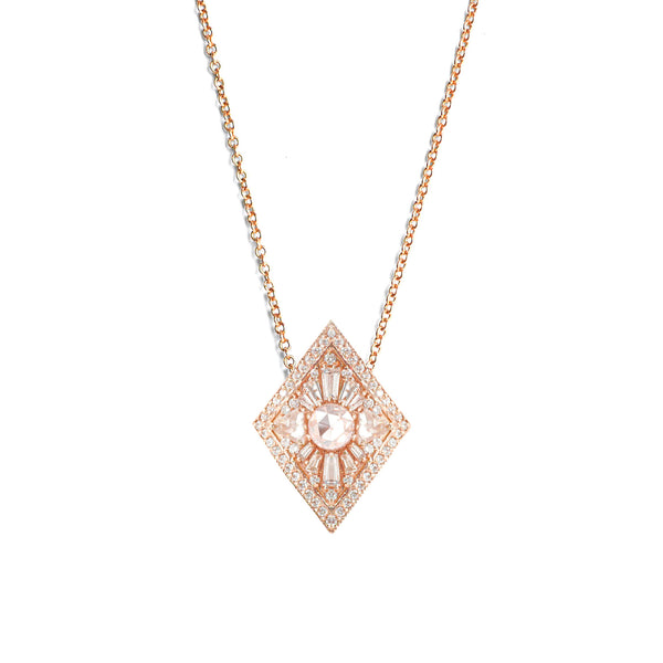 Large Kite Shape Round Diamond Necklace